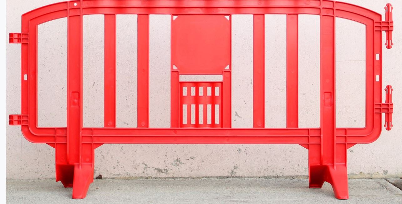 red plastic barricade