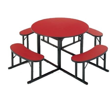 round cafeteria table with benches