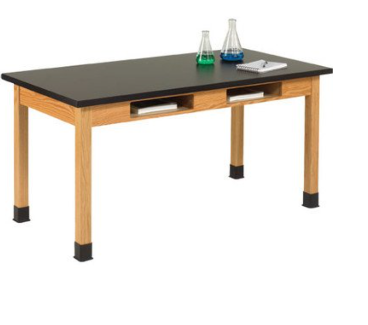science table with book compartments