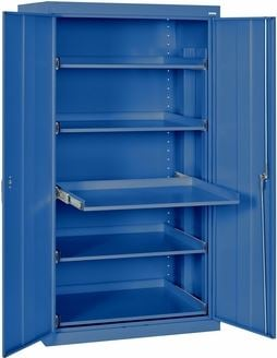 slide out shelf storage cabinet blue