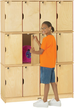 Twelve Opening Triple Stack Mini Wood Lockers