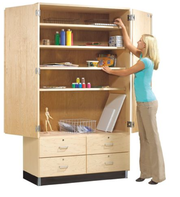 tall storage cabinet with bottom drawers