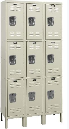 tan triple tier locker