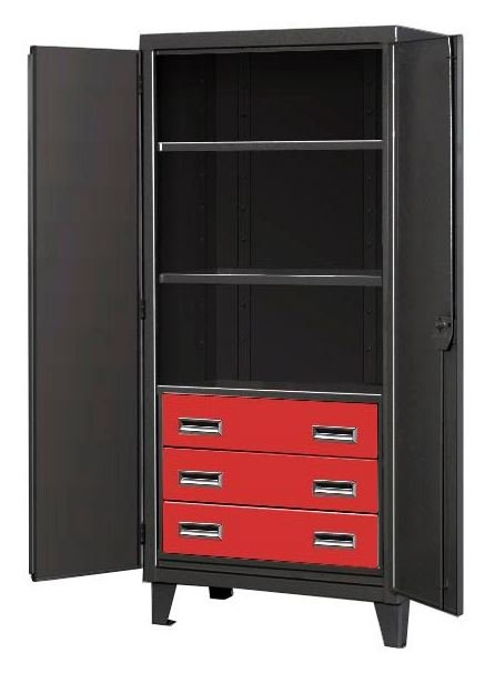 three drawer black tie cabinet