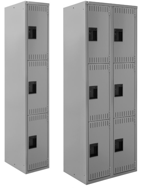 triple tier one and two wide lockers
