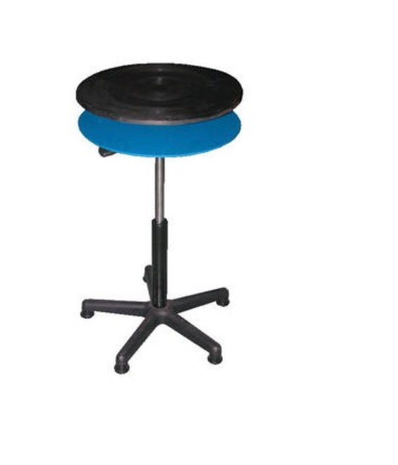 turntable with gas cylinder adjustment and stationary shelf