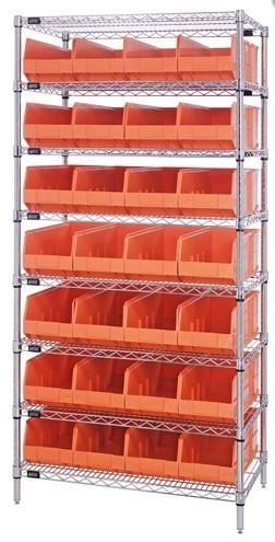 wire shelving with stacking shelf bins
