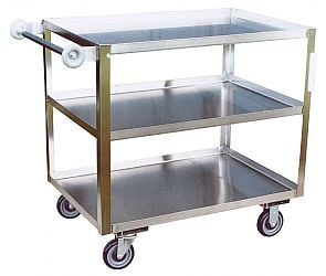 Three Shelf Stainless Steel Utility Carts With Donut Bumper Handle